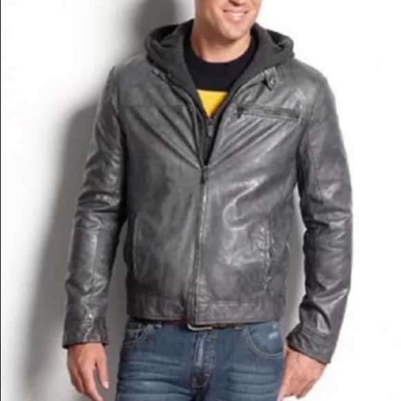 Nwt Kenneth Cole Mens Faux Leather Bomber Jacket Nwt